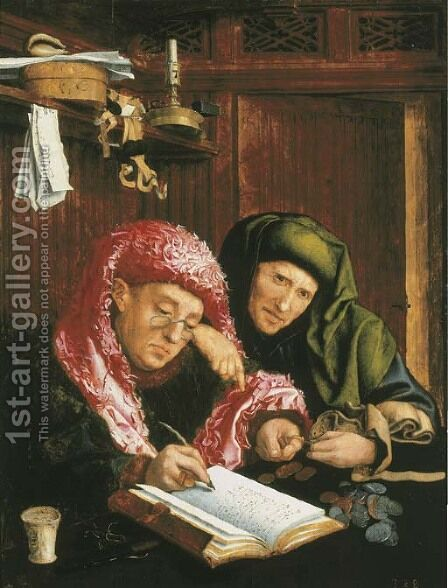 Two tax gatherers 2 by (after) Marinus Van Reymerswaele - Reproduction Oil Painting