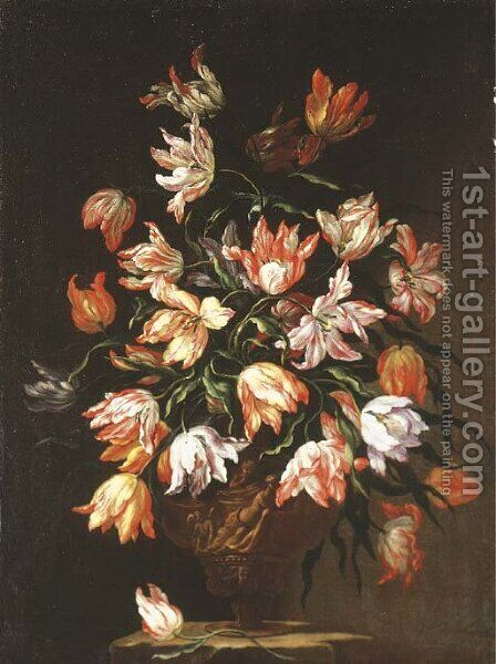 Tulips in a sculpted urn on a stone plinth by (after) Dei Fiori (Nuzzi) Mari - Reproduction Oil Painting