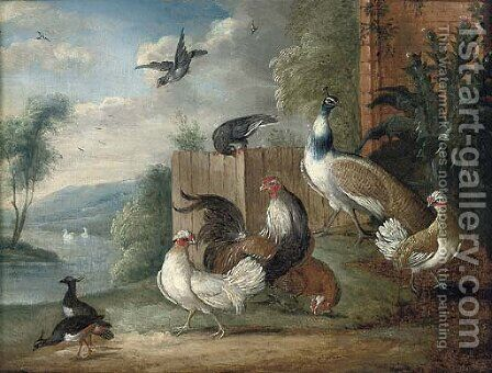 A peacock, a cockeral, hens and pigeons in a wooded clearing by (after) Marmaduke Cradock - Reproduction Oil Painting