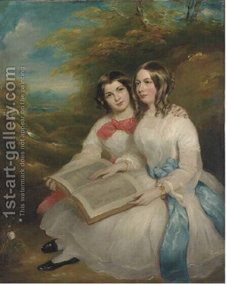 Portrait of Rebecca and Gertrude Bates by (after) Marshall Claxton - Reproduction Oil Painting