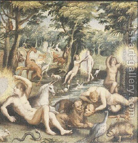 Adam and Eve in the Garden of Eden by (after) Maarten De Vos - Reproduction Oil Painting