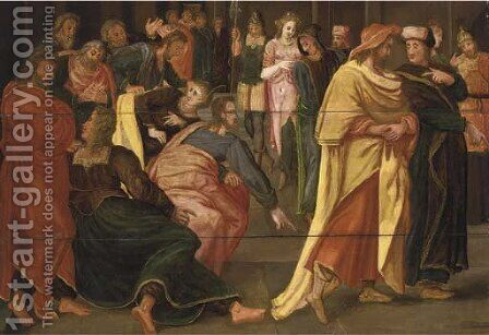 Christ and the Woman taken in Adultery by (after) Maarten De Vos - Reproduction Oil Painting