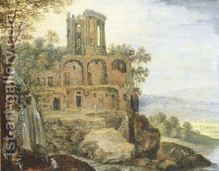 An extensive landscape with the Temple of the Vesta, near Tivoli by (after) Marten Ryckaert - Reproduction Oil Painting