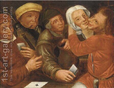 Peasants playing cards and cavorting by (after) Marten Van Cleve - Reproduction Oil Painting