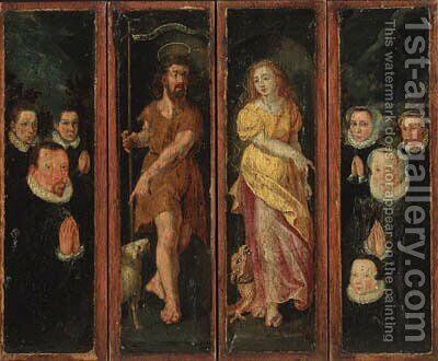 Saint John the Baptist and Saint Margret with donors - a set of four compartments from an altarpiece by (after) Maarten De Vos - Reproduction Oil Painting