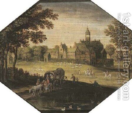 A wooded landscape with travellers in a wagon by a pond, a castle beyond by (after) Maerten Ryckaert - Reproduction Oil Painting