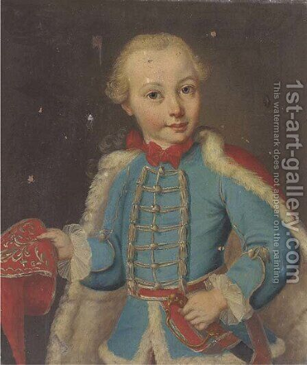 Portrait of a boy, half-length, in a blue uniform and a red fur-lined cape by (circle of) Mytens-Meytens, Martin II - Reproduction Oil Painting