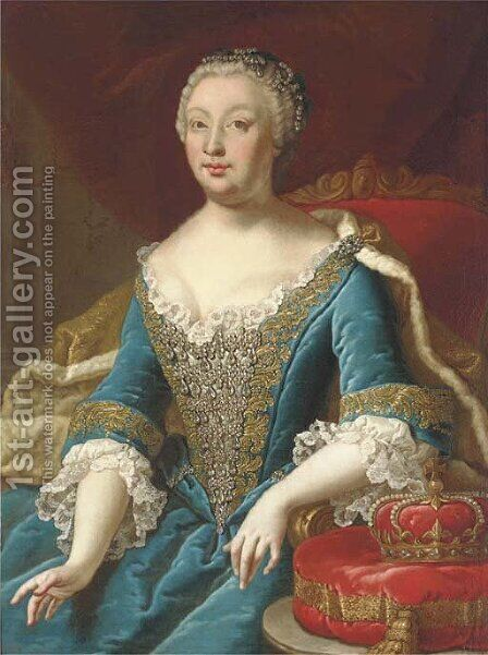 Portrait of Maria Theresa (1717-1780), Empress of Austria, seated, three-quarter-length, in a gold embroidered blue dress by (circle of) Mytens-Meytens, Martin II - Reproduction Oil Painting