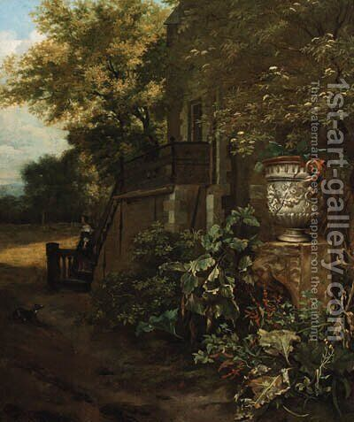 A couple on a stairway outside a mansion by a classical vase by (after) Mathias Withoos - Reproduction Oil Painting