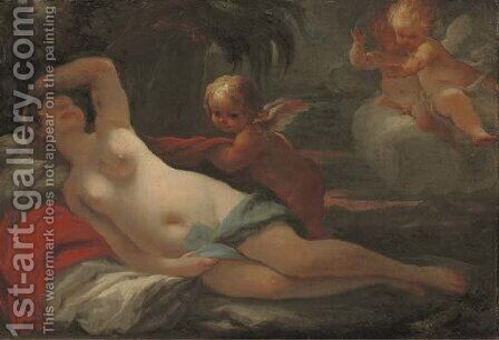 Venus and Cupid with putti by (after) Matteo Bonecchi - Reproduction Oil Painting