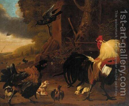 Two cockerels, chicks and other birds in a landscape by (after) Melchior De Hondecoeter - Reproduction Oil Painting