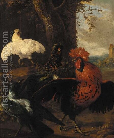 A cockerel, a raven and chickens in a clearing by (attr. to) Hondecoeter, Melchior de - Reproduction Oil Painting