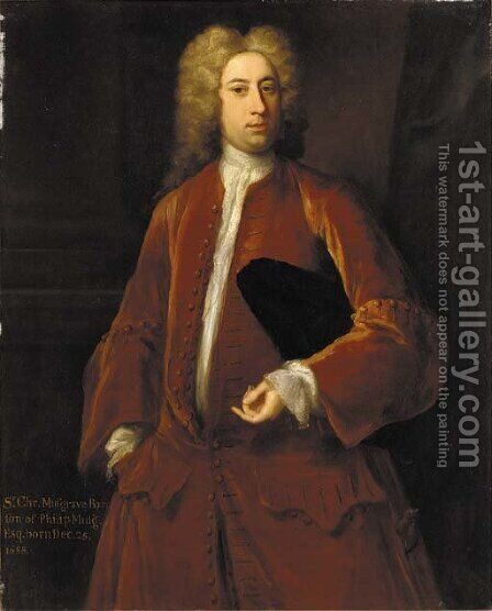 Portrait of Sir Charles Musgrave Bt. (b.1688), three-quarter-length, in a brown jacket and white shirt, holding a hat under his left arm by (after) Dahl, Michael - Reproduction Oil Painting