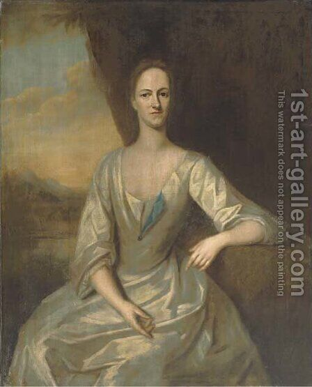 Portrait of Leonora Frederick, Mrs Romney Diggle, three-quarter-length, seated, in a white dress, her left arm resting on a plinth by (after) Dahl, Michael - Reproduction Oil Painting