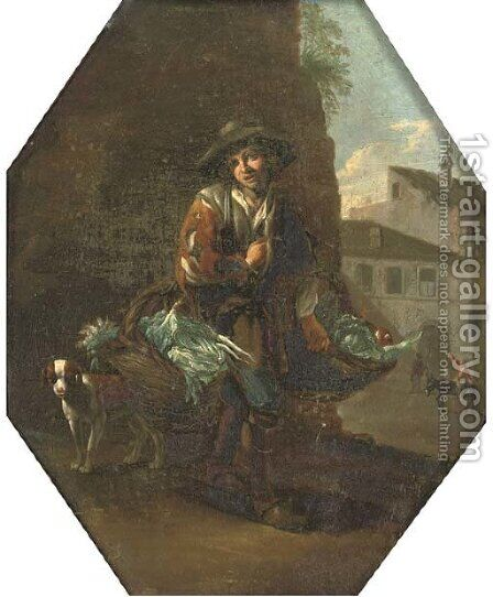 A vegetable seller with his dog, a town beyond by (after) Michelangelo Cerquozzi - Reproduction Oil Painting
