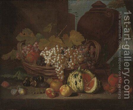 Red and white grapes on the vine in a basket by (after) Michele Pace Del (Michelangelo Di) Campidoglio - Reproduction Oil Painting