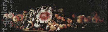 Cherries, apples, pears, peaches, mushrooms and a watermelon on a ledge by (after) Michele Pace Del (Michelangelo Di) Campidoglio - Reproduction Oil Painting