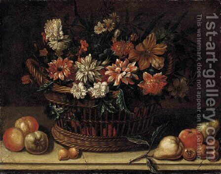 Flowers in a wicker basket with pears, onions and apples on a stone ledge by (after) Michele Pace Del (Michelangelo Di) Campidoglio - Reproduction Oil Painting