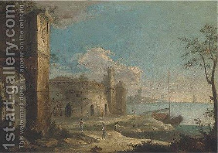 A capriccio coastal landscape with ruins and figures by (after) Michele Marieschi - Reproduction Oil Painting