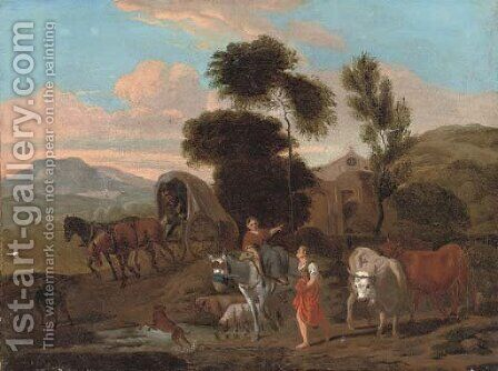 An Italianate landscape with travellers by a stream by (after) Michiel Carree - Reproduction Oil Painting