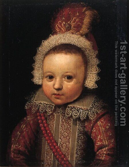 Portrait of a young boy, possibly Johan van der Veecken (1582-1638) by (after) Michiel Jansz. Van Mierevelt - Reproduction Oil Painting