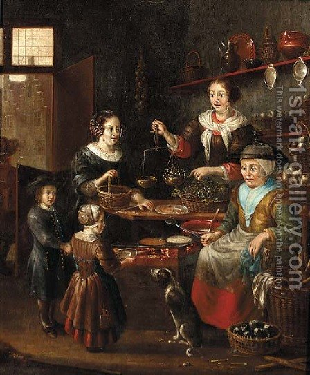 The interior of a grocer's shop with a woman making pancakes by (after) Michiel Van Musscher - Reproduction Oil Painting