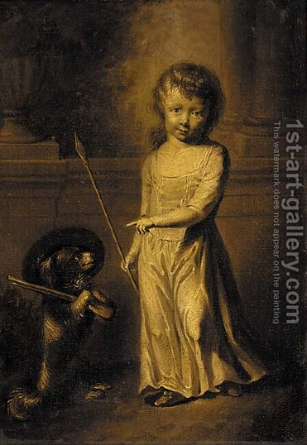 Portrait of a girl, small full-length, in a white dress, holding a spear, a dog by her side by (after) Dance Holland, Nathaniel - Reproduction Oil Painting