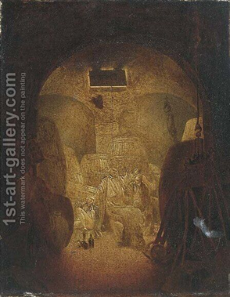 Drunken sailors in a wine cellar, shaded as a skull by (after) Condy, Nicholas Matthews - Reproduction Oil Painting