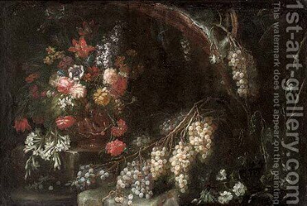 Roses, carnations, narcissi and other flowers in a gilt urn with grapes in a wooded clearing by (after) Nicola Malinconico - Reproduction Oil Painting