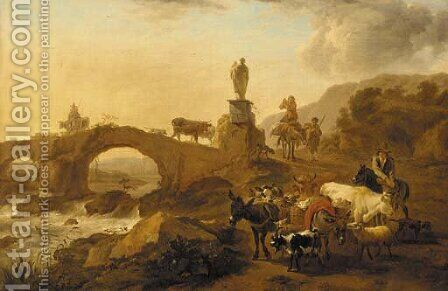 A mountainous landscape with drovers and their cattle crossing a bridge by (after) Nicolaes Berchem - Reproduction Oil Painting