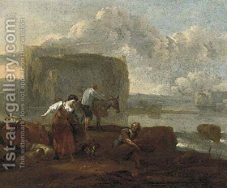 A shepherdess and farm labourers by a lake, a hilltop village beyond by (after) Nicolaes Berchem - Reproduction Oil Painting
