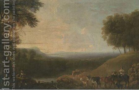 A wooded river landscape with a drover and cattle on a track by (after) Nicolaes Berchem - Reproduction Oil Painting