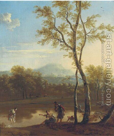 A wooded river landscape with an Arcadian scene by (after) Nicolaes Berchem - Reproduction Oil Painting