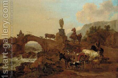 An Italianate landscape with drovers and their cattle crossing a bridge by (after) Nicolaes Berchem - Reproduction Oil Painting