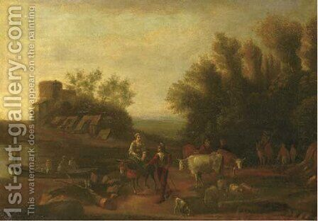 An Italianate landscape with travellers and their flocks on a path by (after) Nicolaes Berchem - Reproduction Oil Painting