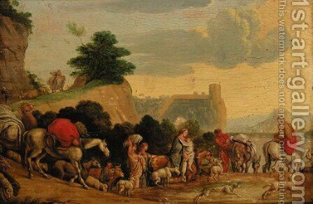 Travellers with goats, cattle and dogs on a track by (after) Nicolaes Moyart - Reproduction Oil Painting