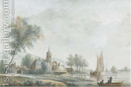 An extensive landscape with a church on the banks of a broad river by (after) Nicolaes Wicart - Reproduction Oil Painting
