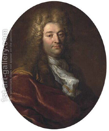 Portrait of a gentleman in a wig and a red robe by (after) Nicolas De Largilliere - Reproduction Oil Painting