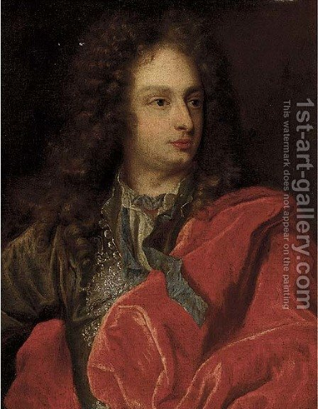 Portrait of a gentleman, half-length, in a grey coat with a red cloak by (after) Nicolas De Largilliere - Reproduction Oil Painting