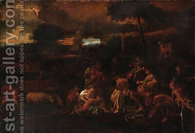A classical landscape with figures by (after) Nicolas Poussin - Reproduction Oil Painting