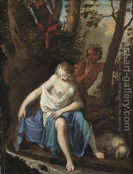 Diana bathing with a satyr looking on by (after) Nicolas Van Schoor - Reproduction Oil Painting
