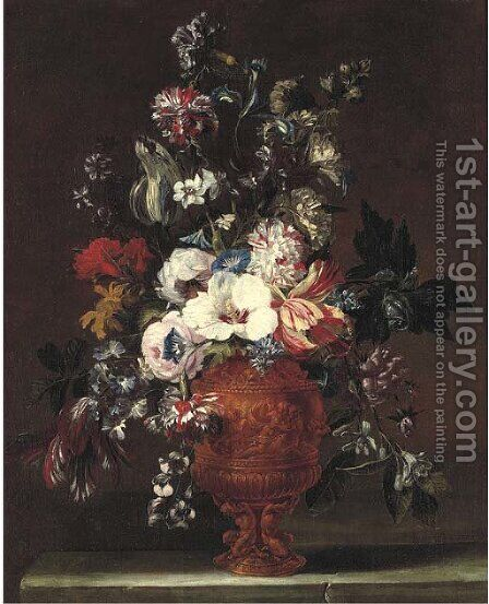 Parrot tulips, roses, carnations, morning glory and other flowers in a sculpted urn by (after) Nicolas Van Veerendael - Reproduction Oil Painting