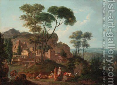 An Italianate landscape with figures resting by a fountain, a town beyond by (after) Nicolas-Didier Boguet - Reproduction Oil Painting