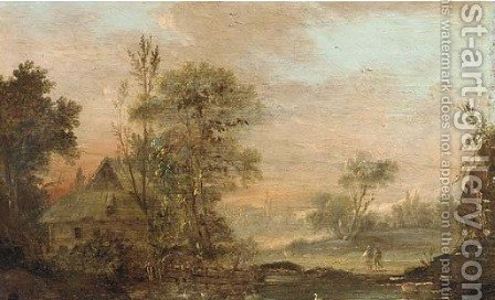 A river landscape with travellers on a track by (after) Norbert Joseph Carl Grund - Reproduction Oil Painting
