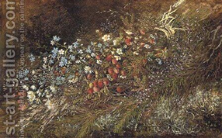 A bouquet of summer fruits and flowers on a mossy bank 2 by (after) Olga Wisinger-Florian - Reproduction Oil Painting