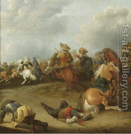 A cavalry battle a fragment by (after)  Palamedes Palamedesz. (Stevaerts, Stevens) - Reproduction Oil Painting
