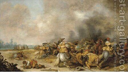 A cavalry engagement by (after)  Palamedes Palamedesz. (Stevaerts, Stevens) - Reproduction Oil Painting