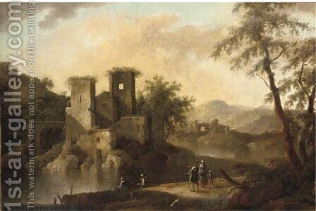 A landscape with Italianate ruins, anglers and other figures by a river by (after) Pandolfo Reschi - Reproduction Oil Painting