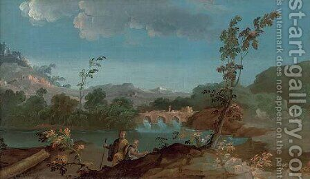 A river landscape with two travellers, a bridge beyond by (after) Paolo Anesi - Reproduction Oil Painting