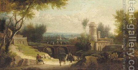 An Italianate landscape with figures and cattle by (after) Paolo Anesi - Reproduction Oil Painting